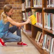 Cute little girl selecting book in library — Stock Photo #68986757