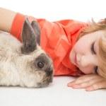 Cute boy lying arm around bunny — Stock Photo #68987441