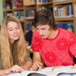 College students doing homework in library — Stock Photo #68988345