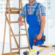 Carpenter with power drill standing by ladder — Stock Photo #68989845