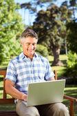 Man sitting on park bench using laptop — Stock Photo