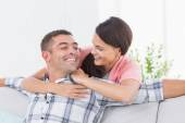 Couple looking at each other in house — Stock Photo