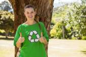 Environmental activist showing thumbs up — Stock Photo