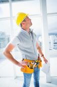 Male supervisor inspecting building — Stock Photo