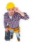 Smiling handyman with tool box — Stock Photo