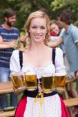 Pretty oktoberfest girl smiling at camera — Stock Photo