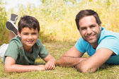 Father and son in the countryside — Stok fotoğraf