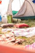 Bohemian style campsite at festival — Stock Photo