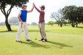 Golfing friends high fiving on the hole — Stock Photo