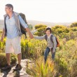 Father and son hiking through mountains — Stock Photo #68992705