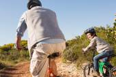 Father and son on a bike ride o — Stock Photo