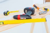 Construction tools on workbench — Stock Photo