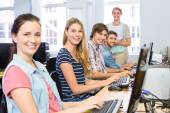 Students in computer class — Stock Photo