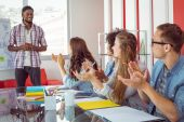 Students applaud a colleague — Stock Photo