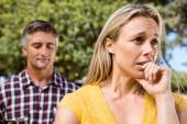 Couple having an argument in the park — Stock Photo