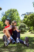 Fit couple stretching in the park — Stock Photo