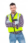 Handyman with reflecting clothes — Stock Photo