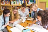 Üniversite öğrencileri kitaplığındaki ödev — Stok fotoğraf