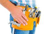 Handyman wearing tool belt — Zdjęcie stockowe