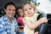Parents and baby on a drive — Stock Photo
