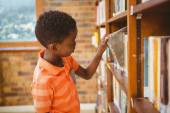 Side view of boy selecting book in library — Stock Photo