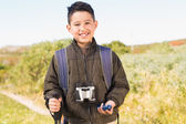 Little boy hiking in the mountains — Stok fotoğraf