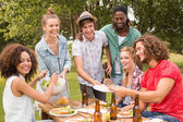 Happy friends in the park having lunch — Stock Photo