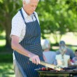 Concentrate grandfather doing barbecue — Stock Photo #69001537