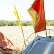 Flags on tents at festival site — Stock Photo #69002133