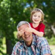 Boy hiding fathers eyes with his hands — Stock Photo #69003393