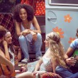 Hipster friends by camper van at festival — Stock Photo #69004369