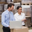 Warehouse managers working on laptop — Stock Photo #69005911