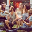 Hipster friends in camper van at festival — Stock Photo #69006611