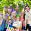 Happy family celebrating a birthday — Stock Photo #69008869