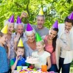 Happy family celebrating a birthday  — Stock Photo #69008979
