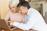Szczęśliwa para dojrzałych za pomocą laptopa — Zdjęcie stockowe