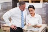 Warehouse manager and boss working together — Stock Photo