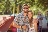 Hipster friends chatting on campsite — Stock Photo