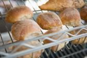 Freshly baked rolls on rack — Stock Photo