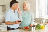 Mature couple having red wine — Stock Photo