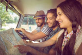 Hipster friends on road trip — Stock Photo
