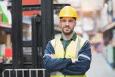 Manual worker wearing hardhat and eyewear — Stock Photo