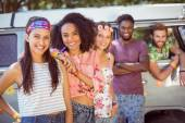 Hipsters hanging out by camper van — Stock Photo