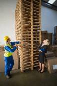 Warehouse worker and manager looking pallet — Stock Photo