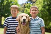 Little boys with their dog in the park — Stock Photo