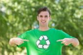 Happy environmental activist in the park — Stock Photo