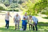 Happy family playing at the ball — Stock Photo