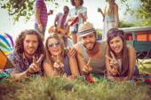 Happy hipster couples on campsite — Stock Photo