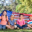 Happy little friends with american flag — Stok fotoğraf #69011843