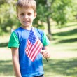 Little boy waving american flag — Stock Photo #69014041